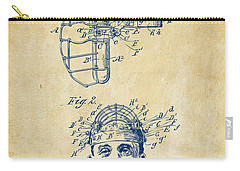 1904 Baseball Catchers Mask Patent Artwork - Vintage Carry-all Pouch