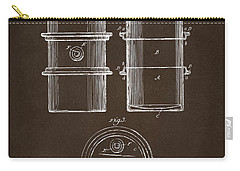 Carry-all Pouch featuring the drawing 1905 Oil Drum Patent Artwork Espresso by Nikki Marie Smith
