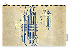 1906 Brass Wind Instrument Patent Artwork Vintage Carry-all Pouch