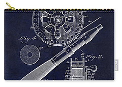1906 Fishing Reel Patent Drawing Blue Carry-all Pouch by Jon Neidert