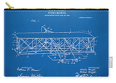 Carry-all Pouch featuring the digital art 1906 Wright Brothers Flying Machine Patent Blueprint by Nikki Marie Smith