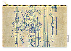 Carry-all Pouch featuring the digital art 1908 Flute Patent - Vintage by Nikki Marie Smith