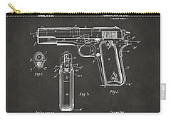 Carry-all Pouch featuring the digital art 1911 Browning Firearm Patent Artwork - Gray by Nikki Marie Smith