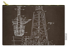 Carry-all Pouch featuring the drawing 1911 Oil Drilling Rig Patent Artwork - Espresso by Nikki Marie Smith