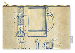 1914 Beer Stein Patent Artwork - Vintage Carry-all Pouch by Nikki Marie Smith