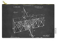 Carry-all Pouch featuring the drawing 1914 Wright Brothers Flying Machine Patent Gray by Nikki Marie Smith