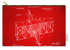 Carry-all Pouch featuring the drawing 1914 Wright Brothers Flying Machine Patent Red by Nikki Marie Smith
