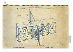 Carry-all Pouch featuring the drawing 1914 Wright Brothers Flying Machine Patent Vintage by Nikki Marie Smith
