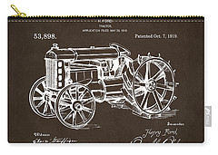Carry-all Pouch featuring the drawing 1919 Henry Ford Tractor Patent Espresso by Nikki Marie Smith