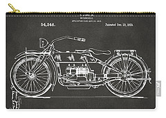 Carry-all Pouch featuring the digital art 1919 Motorcycle Patent Artwork - Gray by Nikki Marie Smith