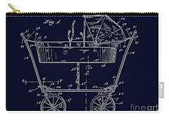 1922 Baby Carriage Patent Art Blueprint Carry-all Pouch