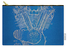 Carry-all Pouch featuring the digital art 1923 Harley Davidson Engine Patent Artwork - Blueprint by Nikki Smith