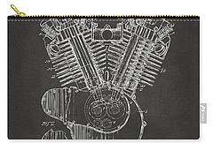 Carry-all Pouch featuring the digital art 1923 Harley Engine Patent Art - Gray by Nikki Marie Smith