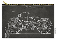 Carry-all Pouch featuring the digital art 1924 Harley Motorcycle Patent Artwork - Gray by Nikki Marie Smith