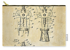 Carry-all Pouch featuring the digital art 1928 Cork Extractor Patent Art - Vintage Black by Nikki Marie Smith