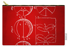 1929 Basketball Patent Artwork - Red Carry-all Pouch