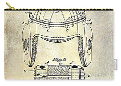 1929 Football Helmet Patent Drawing Carry-all Pouch by Jon Neidert