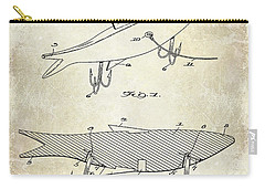 1931 Fish Bait Patent Drawing Carry-all Pouch by Jon Neidert