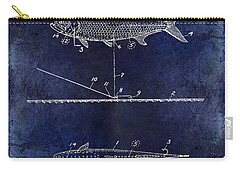 1934 Artificial Fish Lure Patent Drawing Blue Carry-all Pouch