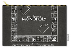 Carry-all Pouch featuring the digital art 1935 Monopoly Game Board Patent Artwork - Gray by Nikki Marie Smith