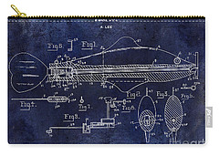 1936 Fish Toy Patent Drawing Blue Carry-all Pouch by Jon Neidert