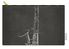 1937 Saxophone Patent Artwork - Gray Carry-all Pouch by Nikki Marie Smith
