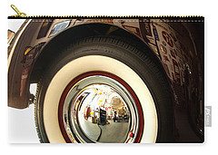 Carry-all Pouch featuring the photograph Classic Maroon 1940 Ford Rear Fender And Wheel   by Jerry Cowart