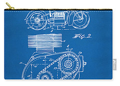 1941 Indian Motorcycle Patent Artwork - Blueprint Carry-all Pouch by Nikki Marie Smith