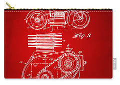 1941 Indian Motorcycle Patent Artwork - Red Carry-all Pouch