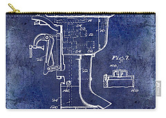 1947 Outboard Motor Patent Drawing Blue Carry-all Pouch