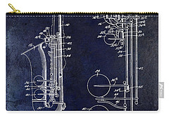 1951 Saxophone Patent Drawing Blue Carry-all Pouch