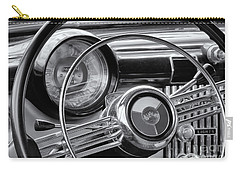 1953 Buick Super Dashboard And Steering Wheel Bw Carry-all Pouch by Jerry Fornarotto