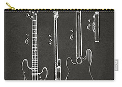 Carry-all Pouch featuring the digital art 1953 Fender Bass Guitar Patent Artwork - Gray by Nikki Marie Smith