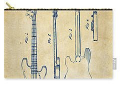 Carry-all Pouch featuring the digital art 1953 Fender Bass Guitar Patent Artwork - Vintage by Nikki Marie Smith