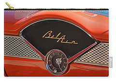 Carry-all Pouch featuring the photograph 1955 Chevy Bel Air Dashboard Clock by Mike Martin