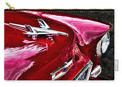 Carry-all Pouch featuring the photograph 1955 Chevy Bel Air Hood Ornament by Peggy Collins