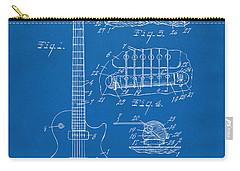 Carry-all Pouch featuring the digital art 1955 Mccarty Gibson Les Paul Guitar Patent Artwork Blueprint by Nikki Marie Smith