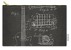 Carry-all Pouch featuring the digital art 1955 Mccarty Gibson Les Paul Guitar Patent Artwork - Gray by Nikki Marie Smith