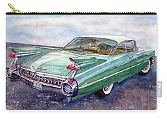 Carry-all Pouch featuring the painting 1959 Cadillac Cruising by Anna Ruzsan