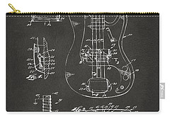 Carry-all Pouch featuring the digital art 1961 Fender Guitar Patent Artwork - Gray by Nikki Marie Smith