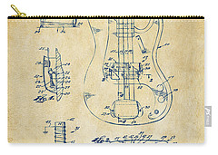 Carry-all Pouch featuring the digital art 1961 Fender Guitar Patent Artwork - Vintage by Nikki Marie Smith