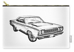 1968 Plymouth Roadrunner Muscle Car Illustration Carry-all Pouch by Keith Webber Jr