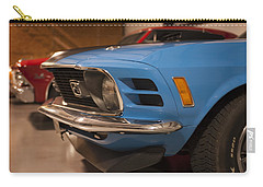 Carry-all Pouch featuring the photograph 1970 Mustang Mach 1 And Other Classics Hidden In A Garage by Todd Aaron
