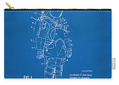 1973 Space Suit Patent Inventors Artwork - Blueprint Carry-all Pouch by Nikki Marie Smith