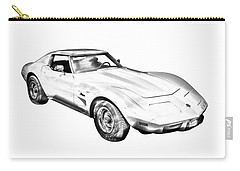 1975 Corvette Stingray Sports Car Illustration Carry-all Pouch
