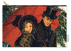 19th C. Young Couple In Winter Carry-all Pouch