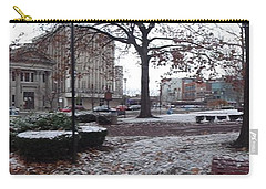 Carry-all Pouch featuring the photograph 1st Snow Public Square by Christina Verdgeline