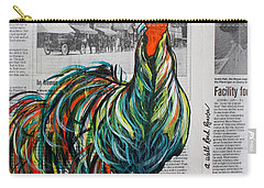 Carry-all Pouch featuring the painting A Well Read Rooster by Janice Rae Pariza