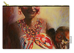 Carry-all Pouch featuring the painting African Mother And Child by Sher Nasser