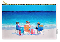 Beach Painting 'girl Friends' By Jan Matson Carry-all Pouch by Jan Matson